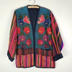Vintage Boho Embriodered Floral Stripe Open Blazer